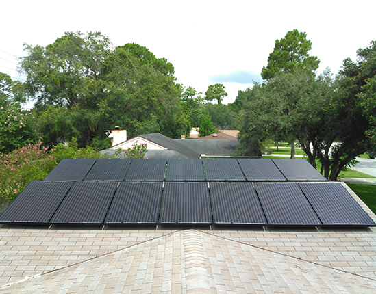 solar panels on a home in Jacksonville FL